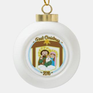 Baby-erstes Weihnachten Keramik Kugel-Ornament