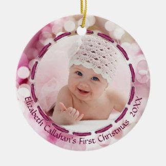 Baby-erstes Weihnachten, Rosa/Pflaume Bokeh, Pics Keramik Ornament