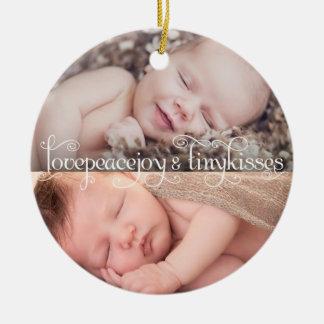 Baby-erstes Weihnachtskleine Kuss-Foto-Verzierung Rundes Keramik Ornament