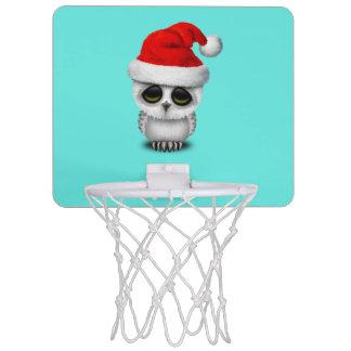 Baby-Eule, die eine Weihnachtsmannmütze trägt Mini Basketball Netz