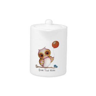 Baby-Eule mit Ballon-kundengerechter Teekanne