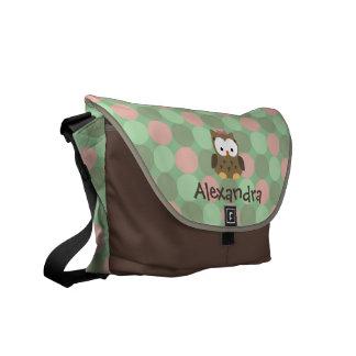 Baby-Eulen-rosa und grüne Name-Windel-Tasche Kuriertasche