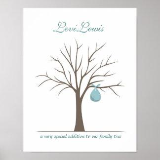 Baby-Fingerabdruck-Baum - Blau Plakatdrucke