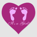 Baby Footprints (Girl) Heart Stickers