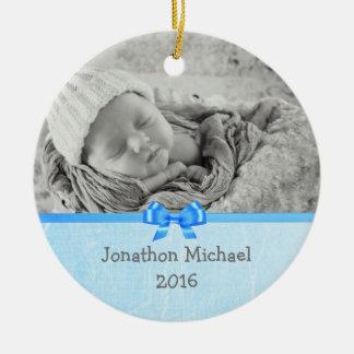 Baby-Foto-Andenken-Verzierung für Baby-Jungen Rundes Keramik Ornament