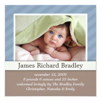 Baby-Foto-Geburts-Mitteilung ~ Blau Duotones Quadratische 13,3 Cm Einladungskarte