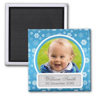 Baby-Foto mit Namen-u. Quadratischer Magnet