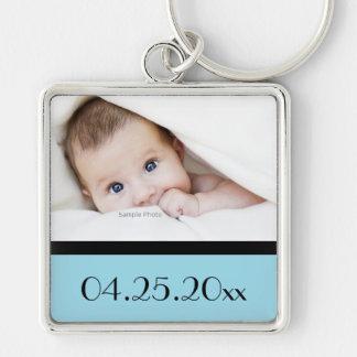 Baby-Foto und Geburtsdatum Silberfarbener Quadratischer Schlüsselanhänger