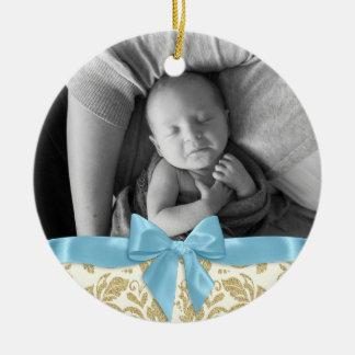 Baby-Foto-und Golddamast-blauer Bogen Keramik Ornament