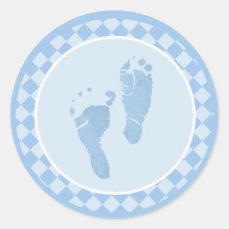 Baby-Fuß-blaue Umschlag Aufkleber-Aufkleber Runder Aufkleber