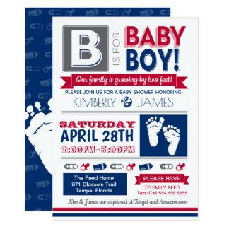 Baby-Fuß-Plakat-Art-Jungen-Duschen-Einladung 2 Karte