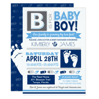Baby-Fuß-Plakat-Art-Jungen-Duschen-Einladung 3 Karte