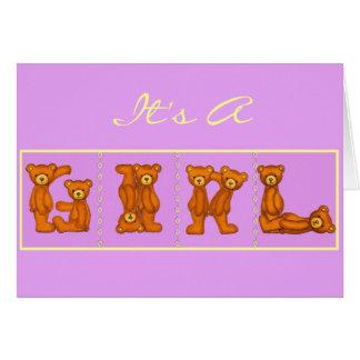 Baby-Geburt Announcements~Bear Alphabet ~ lila Karte