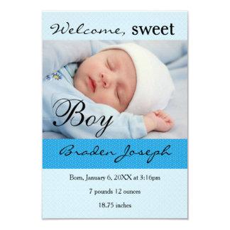 Baby-Geburts-Mitteilung des Jungen-3x5Sweet Karte