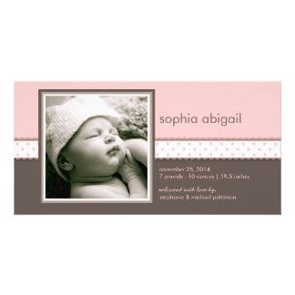 Baby-Geburts-Mitteilung des Rosa-| Brown süße Photo Karte