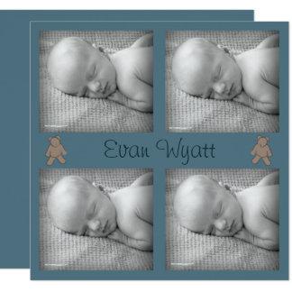 Baby-Geburts-Mitteilung mit Teddybear Quadratische 13,3 Cm Einladungskarte