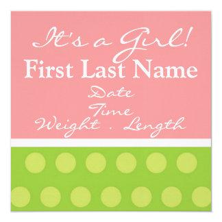 Baby-Geburts-Mitteilung Quadratische 13,3 Cm Einladungskarte