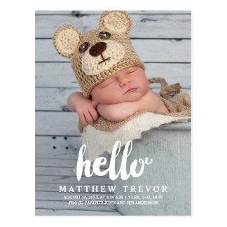 Baby-Geburts-Mitteilungs-Postkarte   hallo Postkarten