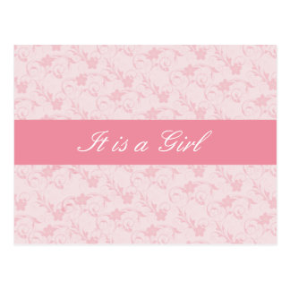 Baby-Geburts-Mitteilungs-Rosa-Blumenmuster Postkarte