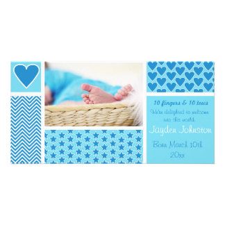 Baby-Geburts-Mitteilungs-Streifen spielt Herzen Bildkarte