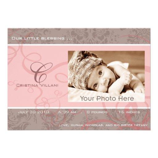 Baby-Geburtsmitteilung des Bandes rosa Individuelle Einladungskarten