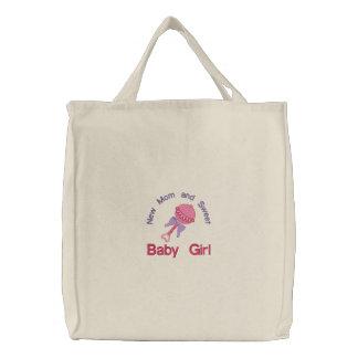 Baby-Geklapper - Rosa Bestickte Einkaufstasche