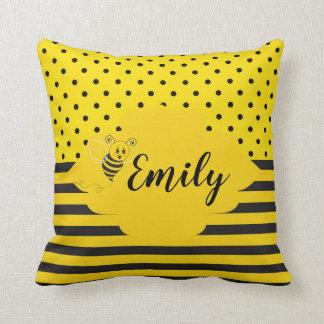 Baby-gelbe schwarze Hummel-Bienen-gestreifter Kissen