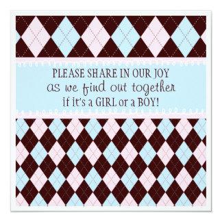 Baby-Geschlecht decken Party in der rosa u. blauen Quadratische 13,3 Cm Einladungskarte