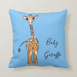 Baby-Giraffe - Blau Kissen