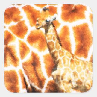Baby-Giraffe Quadratischer Aufkleber