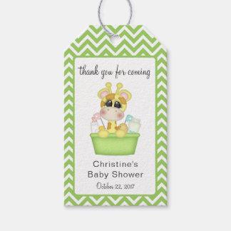 Baby-Giraffe zur Bad-Zeit danken Ihnen zu Geschenkanhänger