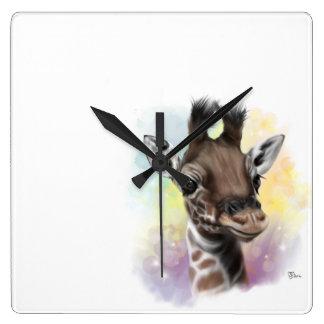 Baby-Giraffen-lächelnde Wanduhr