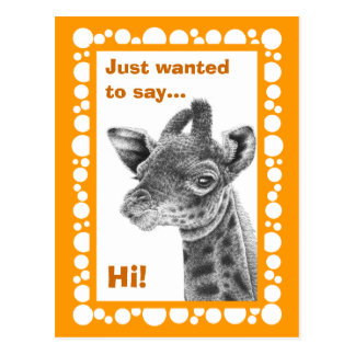 Baby-Giraffen-Retro Kreis-Postkarte Postkarte