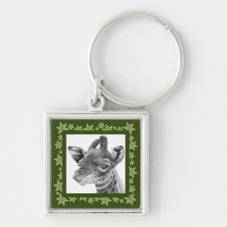 Baby-Giraffen-Schneeflocke-Weihnachten Keychain Schlüsselanhänger