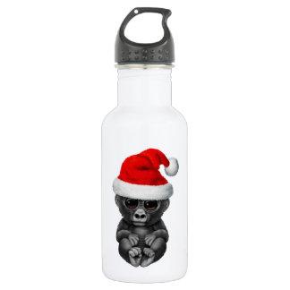 Baby-Gorilla, der eine Weihnachtsmannmütze trägt Trinkflasche