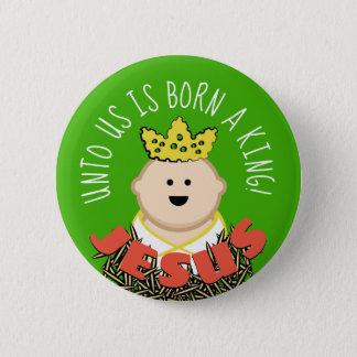 Baby Jesus im Heu mit Crown Königs Runder Button 5,7 Cm