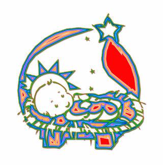 Baby Jesus unter einem Stern Freistehende Fotoskulptur