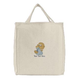 Baby-Junge - junge Mutter oder Vati Bestickte Tasche