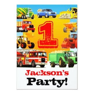 Baby-Jungen-1. Geburtstags-großes LKW-Party 12,7 X 17,8 Cm Einladungskarte