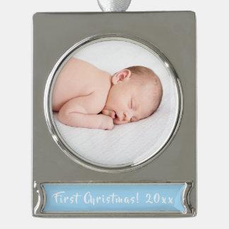 Baby-Jungen-1. WeihnachtsFoto-Feiertag elegant Banner-Ornament Silber