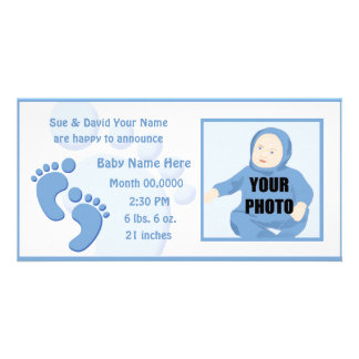 Baby-Jungen-Abdruck-Fuß-Geburts-Foto-Mitteilung Foto Karten
