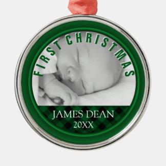 Baby-Jungen-erste WeihnachtsFoto-Verzierung Silbernes Ornament
