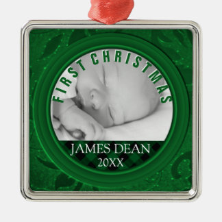 Baby-Jungen-erstes WeihnachtsFoto-Verzierungs-Grün Silbernes Ornament