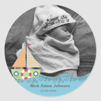 Baby-Jungen-Geburts-Name u. Foto-Aufkleber Runder Aufkleber