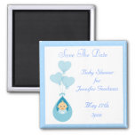 Baby-Jungen-u. Ballon-Blau-Save the Date Baby-Dusc Magnete