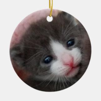 Baby-Kätzchen-Verzierungs-Grau u. Weiß Keramik Ornament