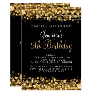 Baby-/Kindergeburtstag-Party-Glitzern-Gold 12,7 X 17,8 Cm Einladungskarte