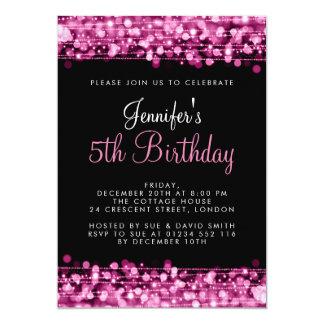 Baby-/Kindergeburtstag-Party-Glitzern-Rosa Karte