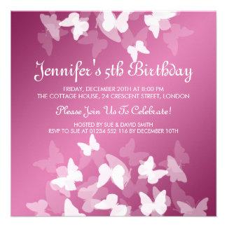 Baby Kindergeburtstag-weißes Schmetterlings-Rosa Ankündigungskarten