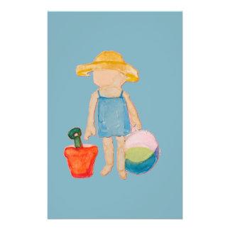 Baby-Kleinkind auf Sommer-Strand-Geburtstags-Blau 14 X 21,6 Cm Flyer